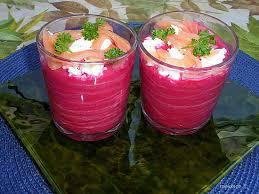 Gaspacho de betteraves au saumon
